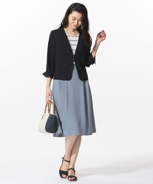 L size ONWARD(大きいサイズ) / エルサイズオンワード ミニ・ひざ丈スカート | 【洗える】パウダーポリ スカート | 詳細6