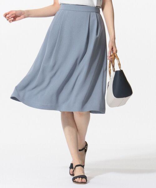 L size ONWARD(大きいサイズ) / エルサイズオンワード ミニ・ひざ丈スカート | 【洗える】パウダーポリ スカート(サックスブルー系)