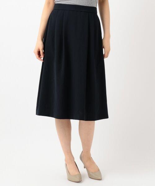 L size ONWARD(大きいサイズ) / エルサイズオンワード ミニ・ひざ丈スカート | 【洗える】パウダーポリ スカート | 詳細17