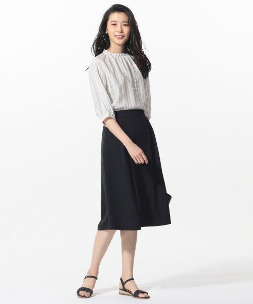 L size ONWARD(大きいサイズ) / エルサイズオンワード ミニ・ひざ丈スカート | 【洗える】パウダーポリ スカート | 詳細16
