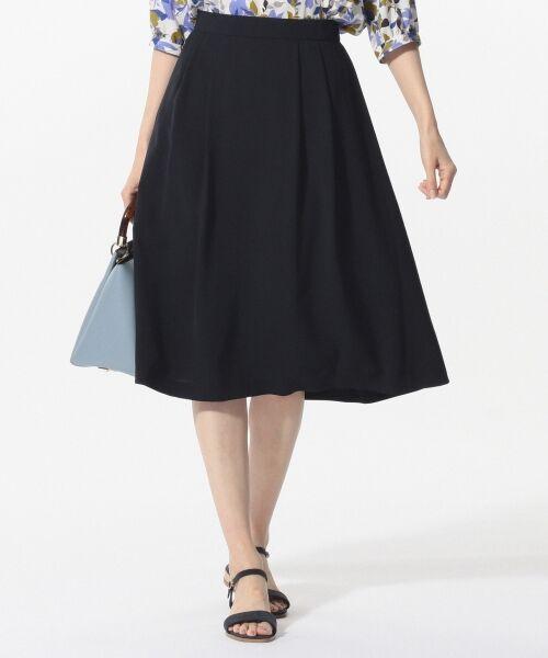 L size ONWARD(大きいサイズ) / エルサイズオンワード ミニ・ひざ丈スカート | 【洗える】パウダーポリ スカート(ネイビー系)