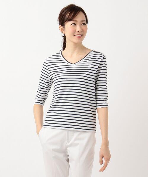 L size ONWARD(大きいサイズ) / エルサイズオンワード Tシャツ | 【中村アンさん着用】ALBINI コットンボーダー カットソー | 詳細6