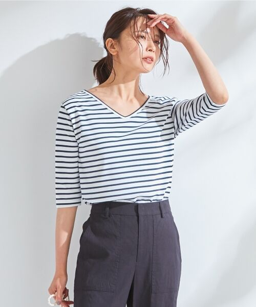 L size ONWARD(大きいサイズ) / エルサイズオンワード Tシャツ | 【中村アンさん着用】ALBINI コットンボーダー カットソー(ブラック系1)