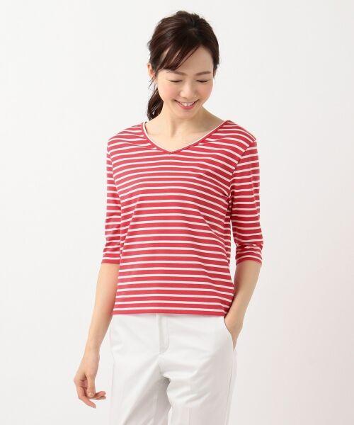 L size ONWARD(大きいサイズ) / エルサイズオンワード Tシャツ | 【中村アンさん着用】ALBINI コットンボーダー カットソー | 詳細8