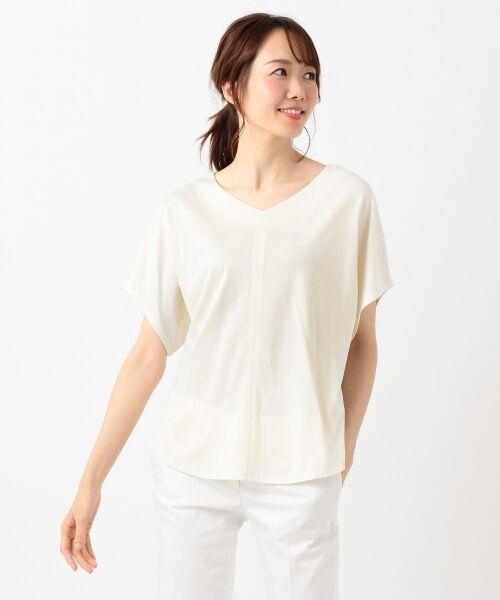 L size ONWARD(大きいサイズ) / エルサイズオンワード Tシャツ | 【UVケア】レーヨンナイロンポンチ ドルマンスリーブ Tシャツ | 詳細4