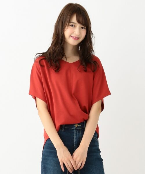 L size ONWARD(大きいサイズ) / エルサイズオンワード Tシャツ | 【UVケア】レーヨンナイロンポンチ ドルマンスリーブ Tシャツ(レッド系)