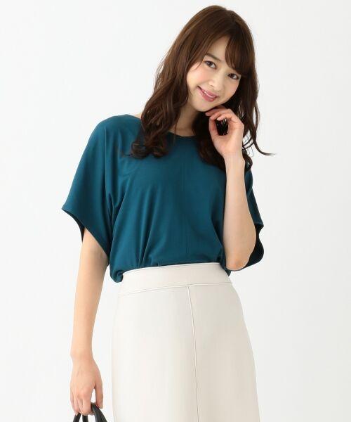 L size ONWARD(大きいサイズ) / エルサイズオンワード Tシャツ | 【UVケア】レーヨンナイロンポンチ ドルマンスリーブ Tシャツ(ピーコックグリーン系)