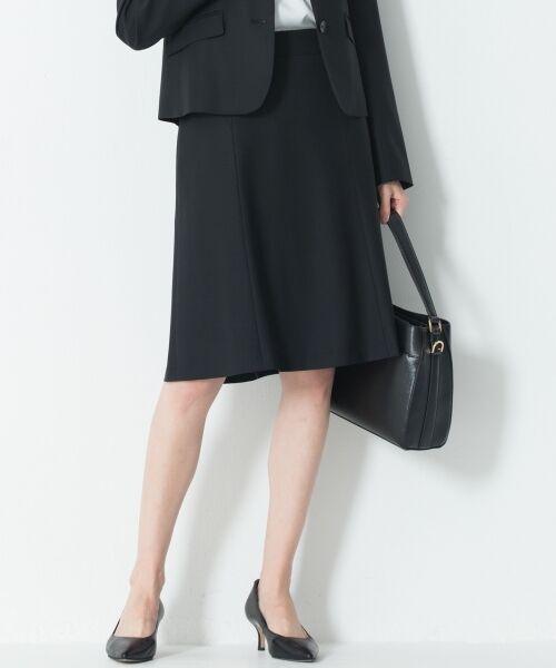 L size ONWARD(大きいサイズ) / エルサイズオンワード ミニ・ひざ丈スカート | 【セットアップ対応】ファインネスウール フレアスカート(ブラック系)