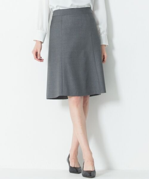 L size ONWARD(大きいサイズ) / エルサイズオンワード ミニ・ひざ丈スカート | 【セットアップ対応】ファインネスウール フレアスカート(グレー系1)