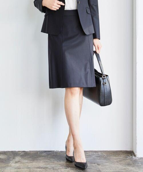 L size ONWARD(大きいサイズ) / エルサイズオンワード ミニ・ひざ丈スカート | 【セットアップ対応】ファインネスウール フレアスカート(ネイビー系1)