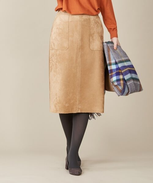 L size ONWARD(大きいサイズ)/エルサイズオンワード 【洗える】ウェードダンボール スカート ベージュ系 T13