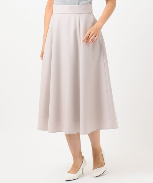 L size ONWARD(大きいサイズ) / エルサイズオンワード ミニ・ひざ丈スカート | ウールソフトジョーゼット フレアスカート | 詳細3