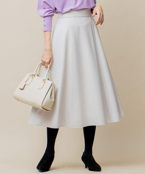 L size ONWARD(大きいサイズ) / エルサイズオンワード ミニ・ひざ丈スカート | ウールソフトジョーゼット フレアスカート(アイボリー系)