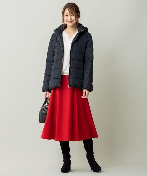 L size ONWARD(大きいサイズ) / エルサイズオンワード ミニ・ひざ丈スカート | ウールソフトジョーゼット フレアスカート | 詳細5