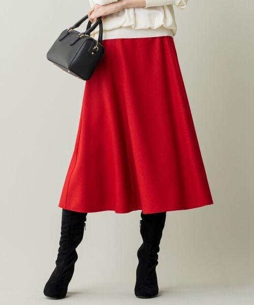 L size ONWARD(大きいサイズ) / エルサイズオンワード ミニ・ひざ丈スカート | ウールソフトジョーゼット フレアスカート(レッド系)