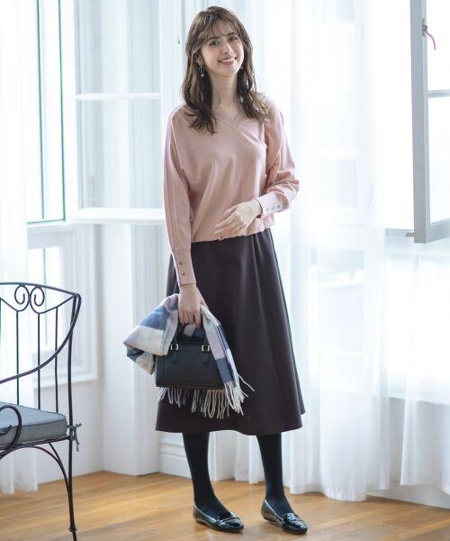 L size ONWARD(大きいサイズ) / エルサイズオンワード ミニ・ひざ丈スカート | ウールソフトジョーゼット フレアスカート | 詳細8