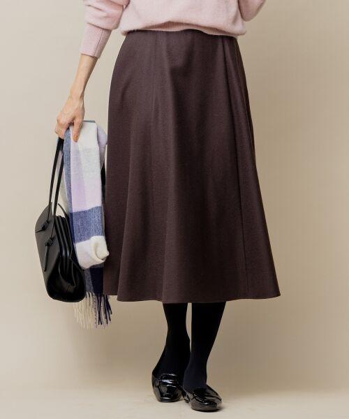 L size ONWARD(大きいサイズ) / エルサイズオンワード ミニ・ひざ丈スカート | ウールソフトジョーゼット フレアスカート(ダークブラウン系)