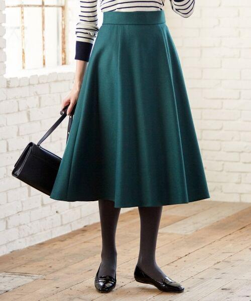 L size ONWARD(大きいサイズ) / エルサイズオンワード ミニ・ひざ丈スカート | ウールソフトジョーゼット フレアスカート(ダークグリーン系)