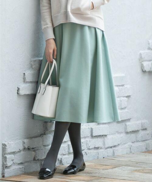 L size ONWARD(大きいサイズ) / エルサイズオンワード ミニ・ひざ丈スカート | ウールソフトジョーゼット フレアスカート(ブルー系)