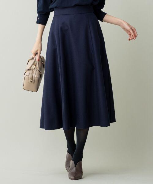 L size ONWARD(大きいサイズ) / エルサイズオンワード ミニ・ひざ丈スカート | ウールソフトジョーゼット フレアスカート(ネイビー系)