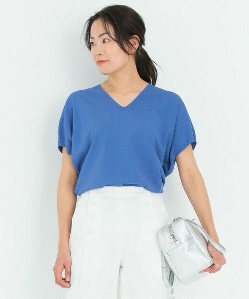 L size ONWARD(大きいサイズ) / エルサイズオンワード ニット・セーター | 【洗える】レーヨンポリエステル ストレッチ Vネック ニット(ブルー系)
