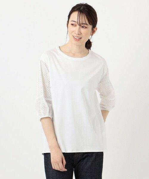 L size ONWARD(大きいサイズ) / エルサイズオンワード カットソー | スムースジャージー 刺繍袖 カットソー | 詳細3
