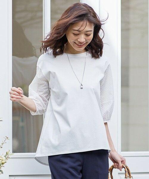L size ONWARD(大きいサイズ) / エルサイズオンワード カットソー | スムースジャージー 刺繍袖 カットソー(ホワイト系)