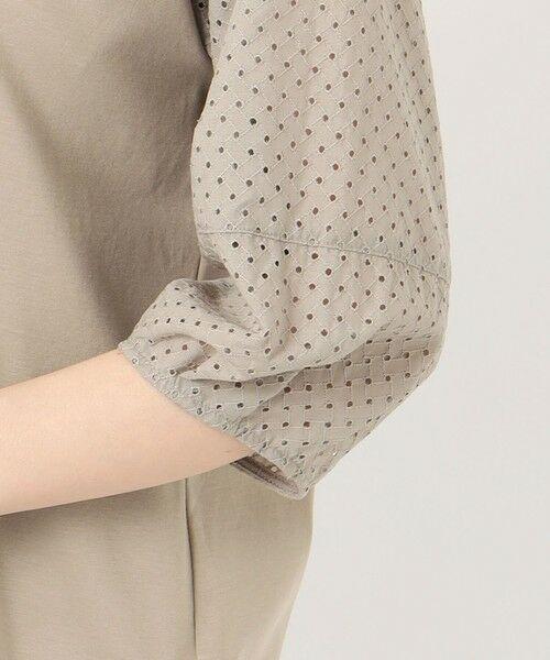 L size ONWARD(大きいサイズ) / エルサイズオンワード カットソー | スムースジャージー 刺繍袖 カットソー | 詳細9