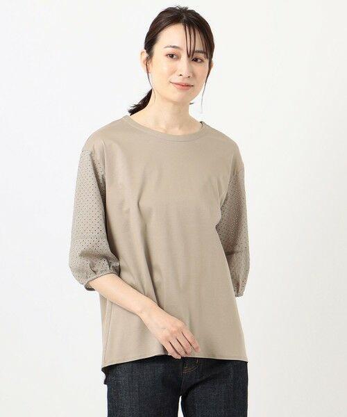 L size ONWARD(大きいサイズ) / エルサイズオンワード カットソー | スムースジャージー 刺繍袖 カットソー | 詳細5