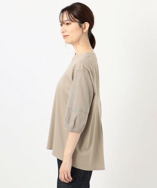 L size ONWARD(大きいサイズ) / エルサイズオンワード カットソー | スムースジャージー 刺繍袖 カットソー | 詳細6