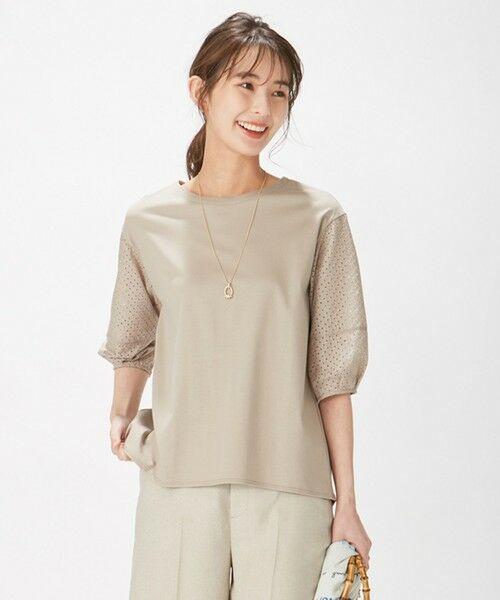 L size ONWARD(大きいサイズ) / エルサイズオンワード カットソー | スムースジャージー 刺繍袖 カットソー(ブラウン系)
