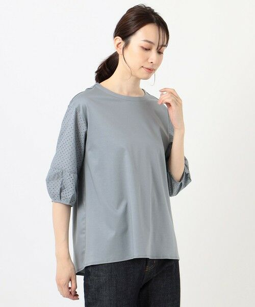 L size ONWARD(大きいサイズ) / エルサイズオンワード カットソー | スムースジャージー 刺繍袖 カットソー | 詳細16