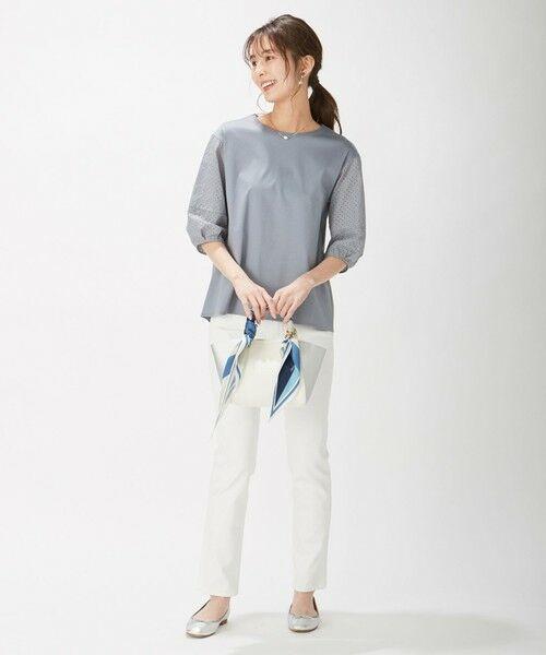 L size ONWARD(大きいサイズ) / エルサイズオンワード カットソー | スムースジャージー 刺繍袖 カットソー | 詳細15