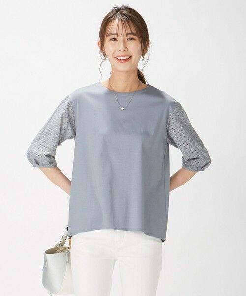 L size ONWARD(大きいサイズ) / エルサイズオンワード カットソー | スムースジャージー 刺繍袖 カットソー(サックスブルー系)