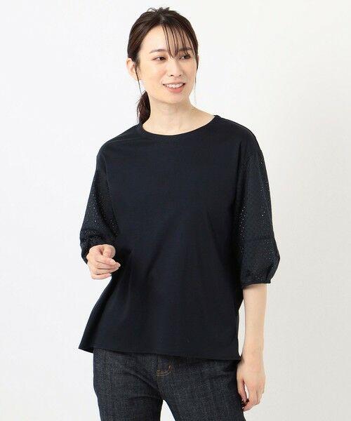 L size ONWARD(大きいサイズ) / エルサイズオンワード カットソー | スムースジャージー 刺繍袖 カットソー | 詳細19