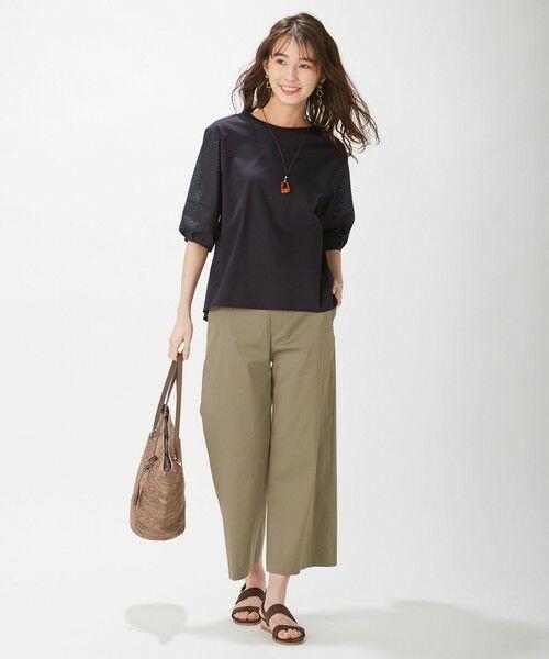 L size ONWARD(大きいサイズ) / エルサイズオンワード カットソー | スムースジャージー 刺繍袖 カットソー | 詳細17
