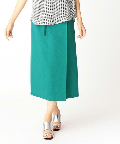 LUMINOSO COMMECA / ルミノーゾ・コムサ ミニ・ひざ丈スカート   ドライタッチ巻きスカート(グリーン)