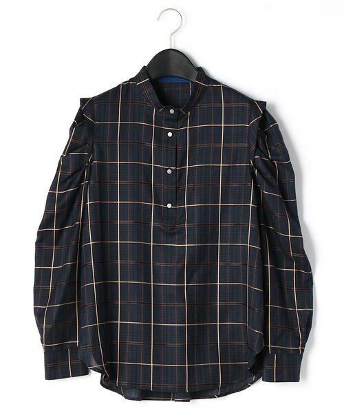 LUMINOSO COMMECA/ルミノーゾ・コムサ 袖コンシャス タータンチェックシャツ ネイビー系 9号