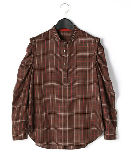 LUMINOSO COMMECA/ルミノーゾ・コムサ 袖コンシャス タータンチェックシャツ ブラウン系 7号