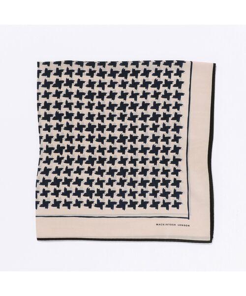 MACKINTOSH LONDON / マッキントッシュ ロンドン  バンダナ・スカーフ   ハウンドトゥーススカーフ(ネイビー)