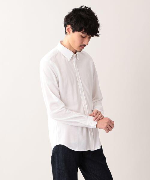 MACKINTOSH LONDON (MENS) / マッキントッシュ ロンドン  メンズ シャツ・ブラウス | 先染めシャンブレー鹿の子 ボタンダウンシャツ(ホワイト)