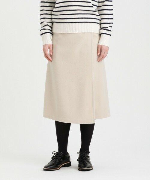 MACKINTOSH PHILOSOPHY / マッキントッシュ フィロソフィー ロング・マキシ丈スカート | ウールラップスカート(オフホワイト2)