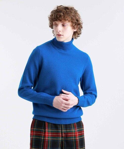 MACKINTOSH PHILOSOPHY(MENS) / マッキントッシュ フィロソフィー メンズ ニット・セーター | 7Gファインラムズウール タートルネック(ブルー7)