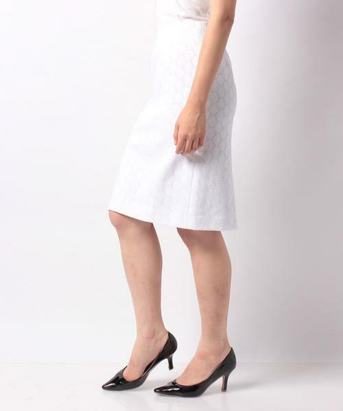 MADAM JOCONDE / マダムジョコンダ ミニ・ひざ丈スカート | 透かしジャガードジャージー スカート | 詳細1