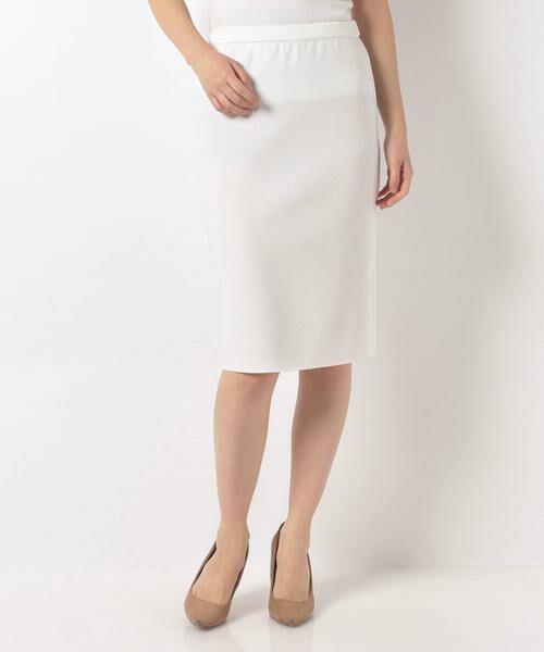 MADAM JOCONDE / マダムジョコンダ ミニ・ひざ丈スカート | ARINA ミラノリブ タイトスカート(ホワイト)