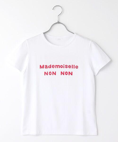 Mademoiselle NONNON / マドモアゼルノンノン Tシャツ | 定番天竺Tシャツ(シロ×オペラピンクPT)