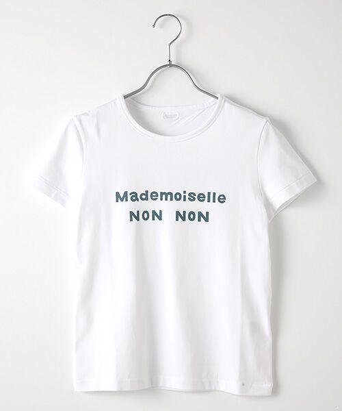 Mademoiselle NONNON / マドモアゼルノンノン Tシャツ | 定番天竺Tシャツ(シロ×サックス)