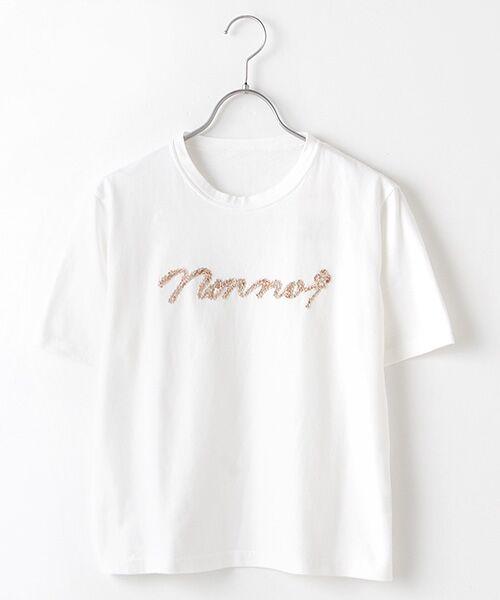 Mademoiselle NONNON / マドモアゼルノンノン Tシャツ | 甘撚天竺コード刺繍Tシャツ[ロゴ&四つ葉のクローバー刺繍 半袖](シロ)