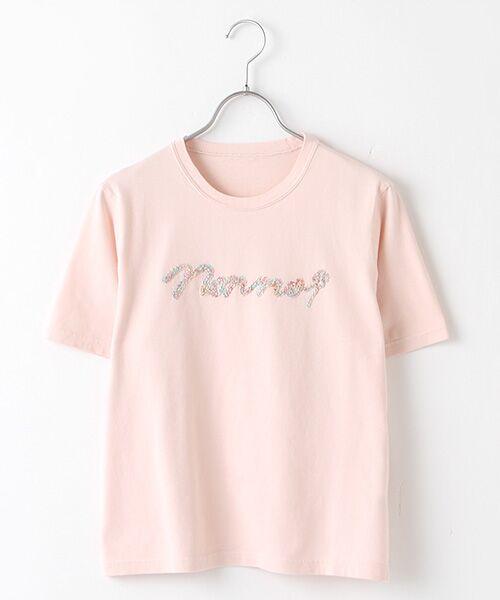 Mademoiselle NONNON / マドモアゼルノンノン Tシャツ | 甘撚天竺コード刺繍Tシャツ[ロゴ&四つ葉のクローバー刺繍 半袖](ピンク)