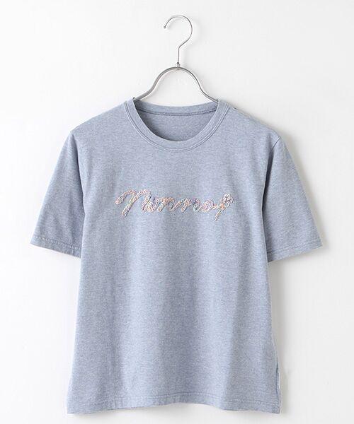 Mademoiselle NONNON / マドモアゼルノンノン Tシャツ | 甘撚天竺コード刺繍Tシャツ[ロゴ&四つ葉のクローバー刺繍 半袖](TOPブルー)